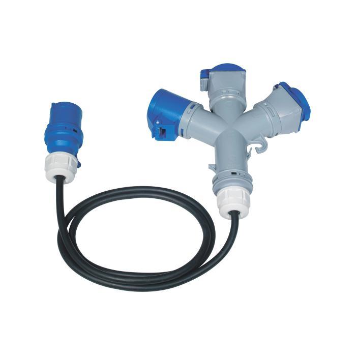 3-Wege Adapter - 3-polig - mit 1 x CEE- oder 3 x CEE-Stecker - Nennspannung 250 V - Nennstrom 16 A - Schutzart IP 44