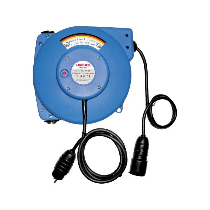 Kabelaufroller - Wandkonsole 180 ° schwenkbar - Leitung H07RN-F 3 G x 1,5 bzw. 2,5 mm²