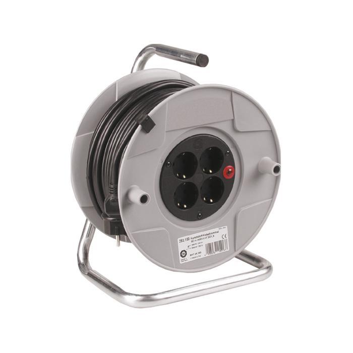 Kunststoffkabeltrommel - mit 4 Steckdosen - Trommel-Ø 260 mm - Leitungsquerschnitt 3 x 1,5 mm²