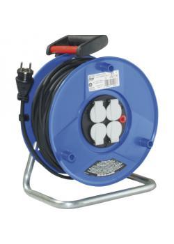 Kunststoffkabeltrommel - mit 4 Steckdosen und leichter Gummischlauchleitung - Trommel-Ø 260 mm