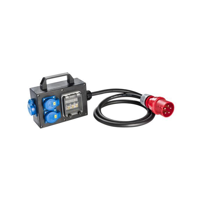 CEE-Vollgummiadapterbox - mit CEE-Stecker 32 A - mit Absicherung - Länge 2 m