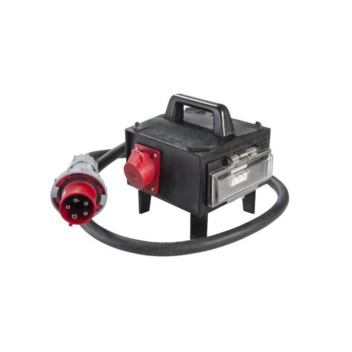 CEE-Vollgummiadapterbox - mit CEE-Stecker 63 A - mit Absicherung - Länge 2 m