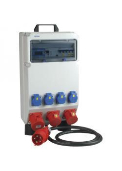 """Kunststoffkleinverteiler """"Kempten"""" - mit Zähler - 4 Steckdosen 230 V - mit FI-Schalter - mit Drehstromzähler"""