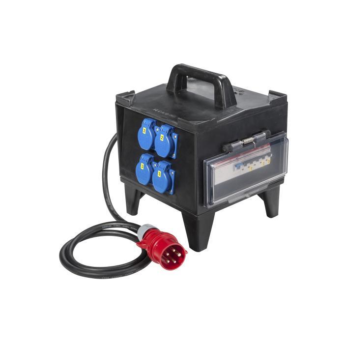 """Vollgummikleinverteiler """"Glattbach"""" - mit 4 Steckdosen 230 V - FI-Schalter 40 A, 4-polig - 2 m Zuleitung"""