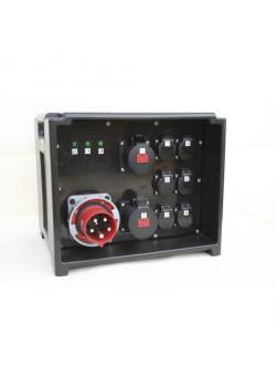 Plug & Music Kunststoffverteiler - mit 9 Steckdosen 230 V - mit 2 FI-Schaltern 63 A, 4-polig