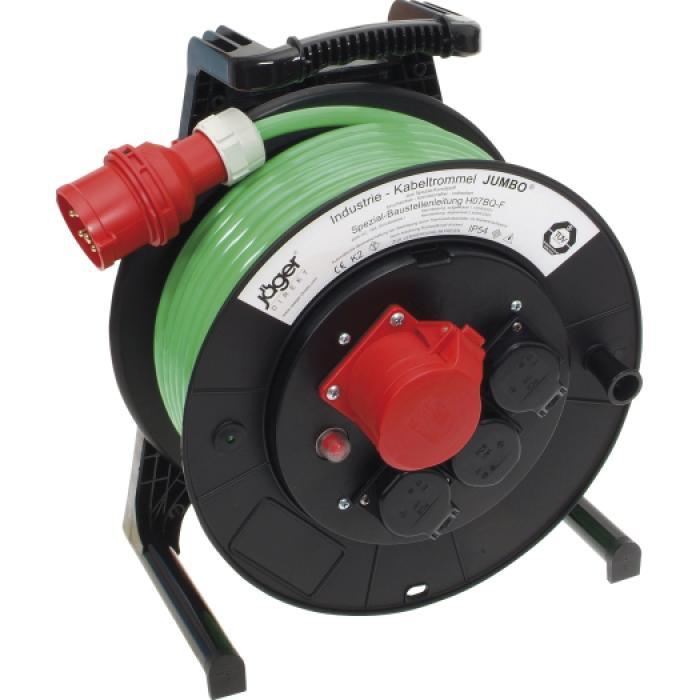 JUMBO® L CEE kabeltrumma med PUR-kabel - med CEE och jordat uttag - Spänning 400 V - Märkström 16 A