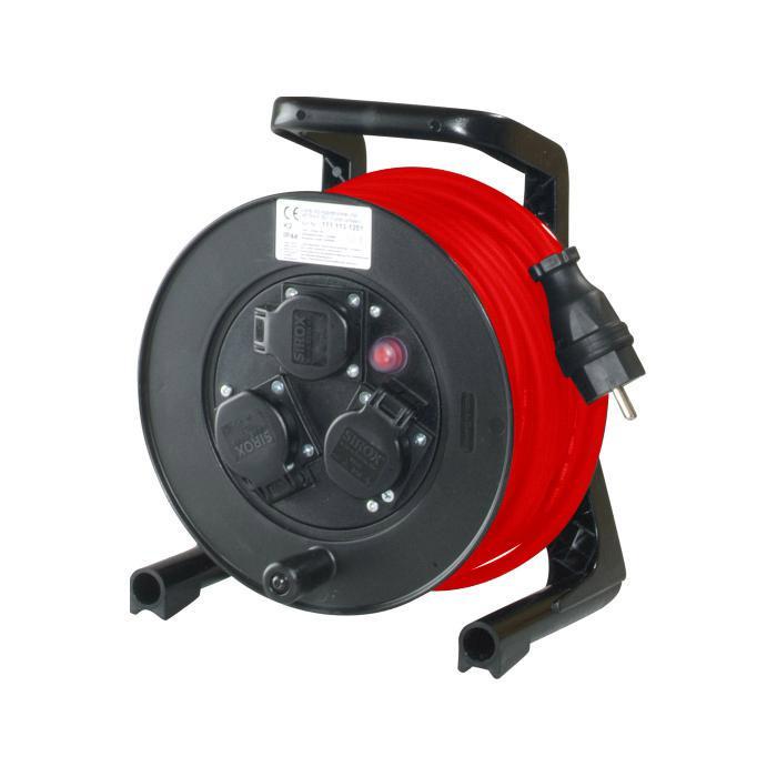 JUMBO® Kabeltrommel mit 3 Steckdosen und Gummischlauchleitung - Nennspannung 230 V - Nennstrom 16 A