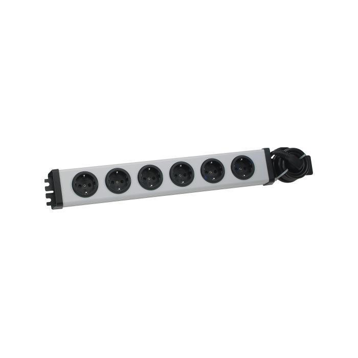 6-fach Kunststoff-Steckdosenleiste 19'' VARIO® LINEA - Nennspannung 230 V, 50 Hz - Nennstrom 16 A - Maße 462 x 72 x 47