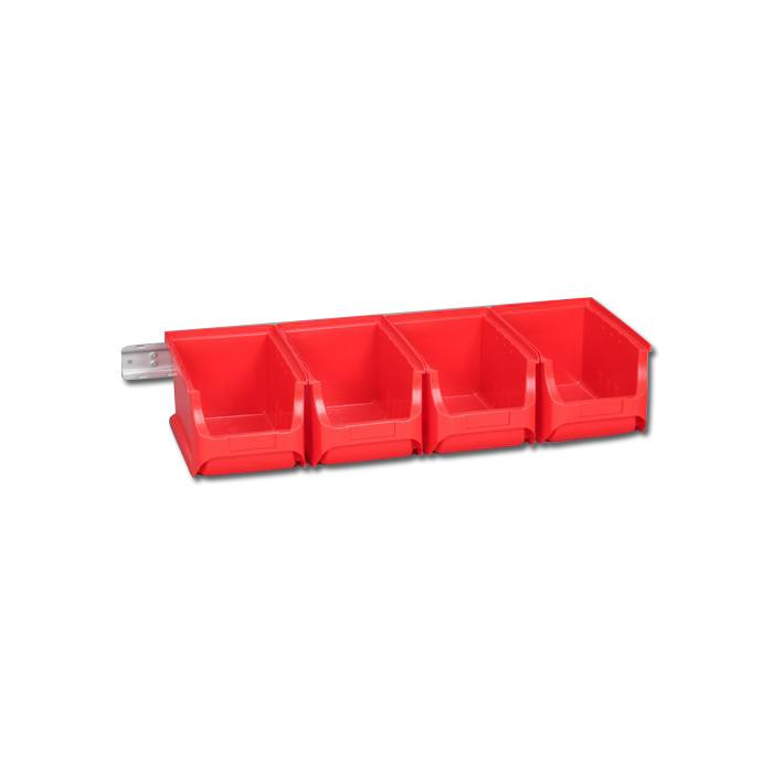 bacs d'empilage mis Profi Plus Set 3/5 - - couleur rouge ou bleu avec couvercle, 4 bacs et mur 1ner montage