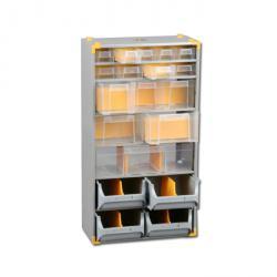 Metal small parts depot VarioPlus Depot M 40 - with 15 drawers - Dimensions (W x D x H) 300 x 165 x 565 mm