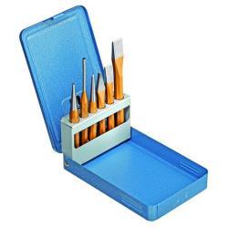 Meißel-Satz - in Metallklappkassette - 6tlg. - inkl. versch. Meißel, Körper, Splinttreiber