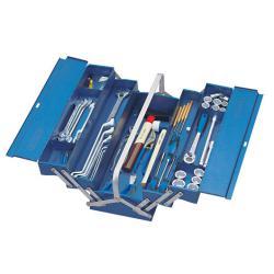 Werkzeugkasten - 5 Fächer - lange Form - mit Werkzeugsortiment - 69-teilig