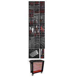 Wózek warsztatowy - 7 szuflad - 1 drzwi boczne - z 197 narzędziami