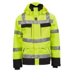 Åbo Stretch Work Jacket - Män - Storlek XS till XXXXL - EN 343 3-3, EN 20471 kl3 - Fl. gul / svart