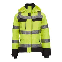 Åbo Stretch Work Jacket - Kvinnor - Storlek XS till XXXL - EN 343 3-3, EN 20471 kl3 - Fl. gul / svart