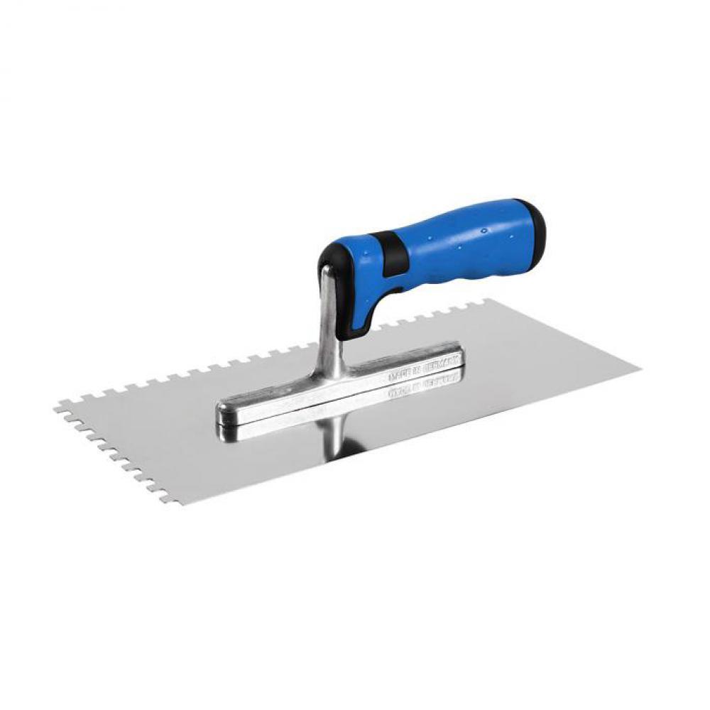 Glättekelle - rostfrei - gezahnt E4 bis E10 - 280 x 130 x 0,7 mm - mit spezial Softgriff