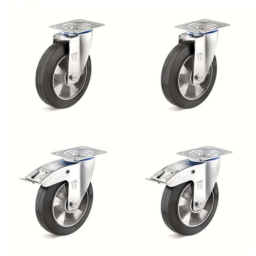 Tunga rullar - 4 hjul (2 med dubbeltopp) - kapacitet av 600 till 1200 kg / Set