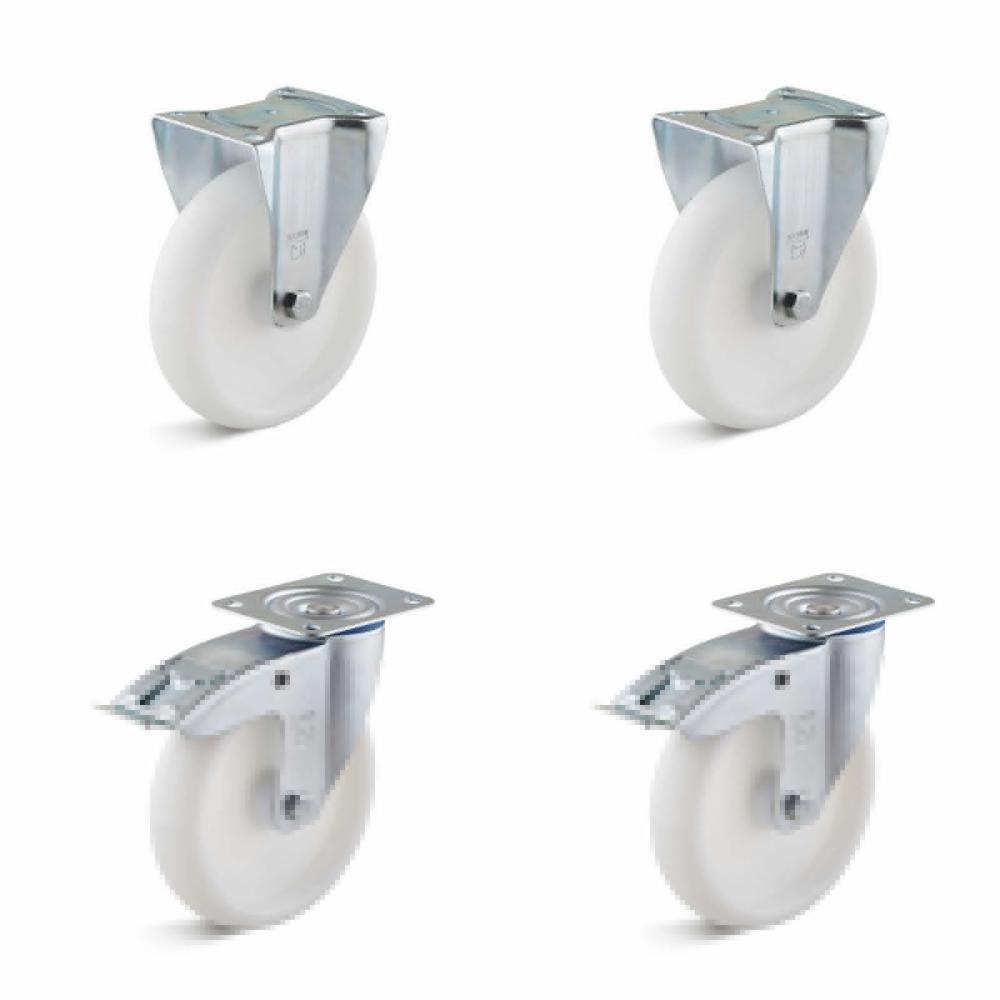 Tunga hjul - 2 hjul med dubbla stopp och 2 fasta hjul - Kapacitet 450 till 1050 kg per set