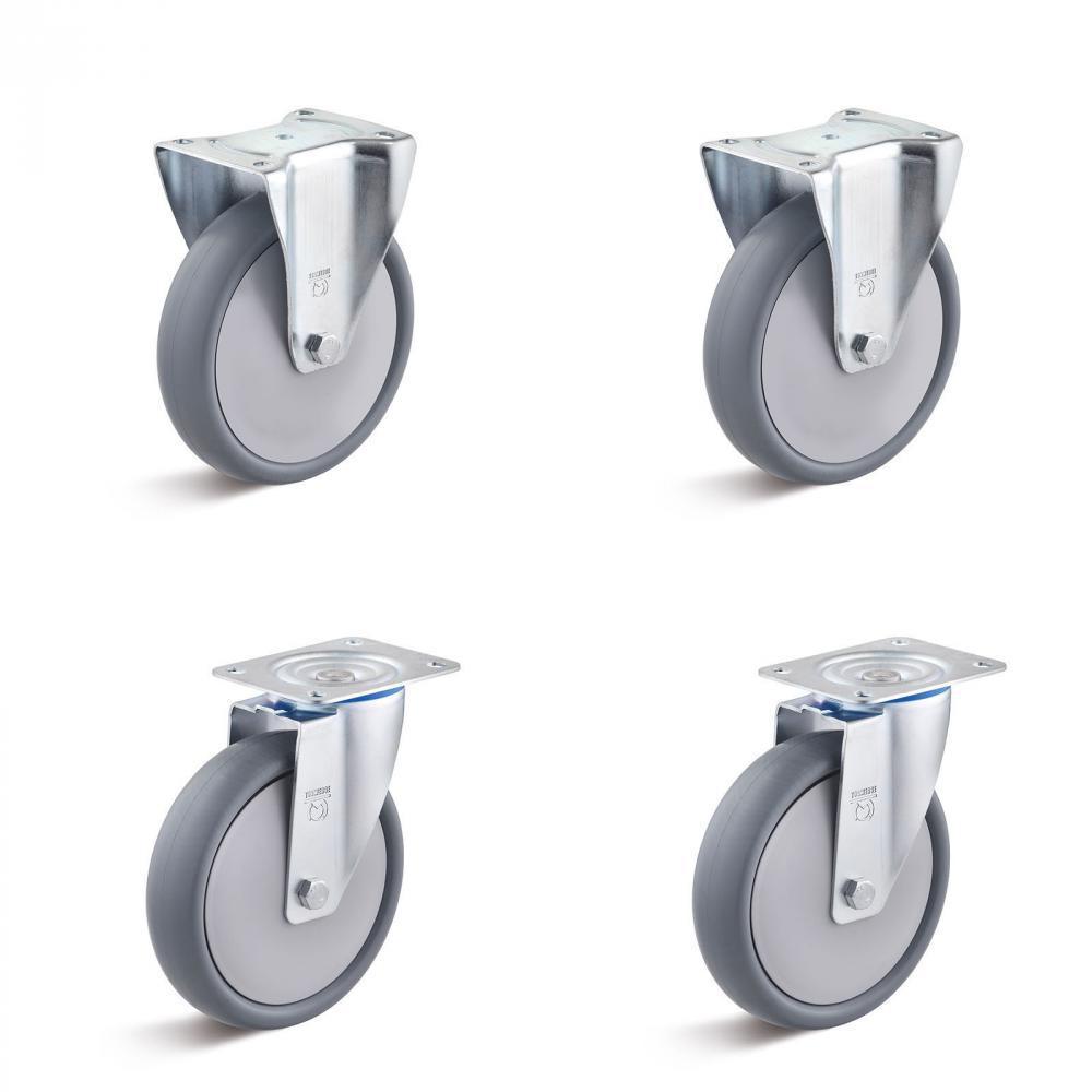 Tunga hjul - 2 hjul och 2 fasta hjul - Kapacitet 240 till 660 kg per set
