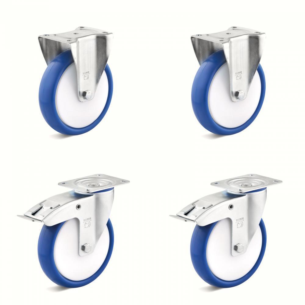 Tunga hjul - 2 hjul med dubbla stopp och 2 fasta hjul - Kapacitet 300 till 900 kg per set