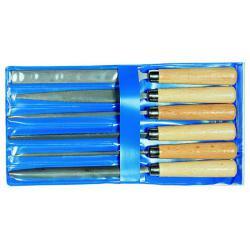Nyckelfil uppsättning - Enligt DIN 7283 - I blå plastpåse - 6 stycken