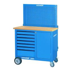 Mobil arbeidsbenk/verktøyvogn - med verktøypanel og kroksortiment - 7 skuffer - kapasitet 700 kg