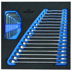 Ring-Maulschlüssel-Satz - in Check-Tool-Modul - SW 6 bis 22 mm - inkl. Inbus-Schlüssel