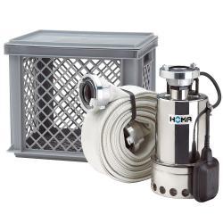 Set di allagamenti per emergenze - pompa centrifuga da 0,45 kW - altezza di mandata max. 7,3 m - max. 11,5 m³ / h - acciaio inossidabile e accessori