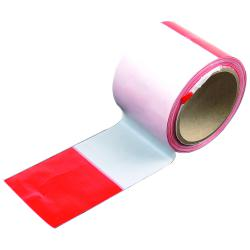 Barrier tape - 80 mm x 100 mm - red, white blocked