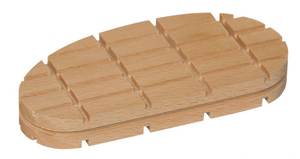 Träblock - platt design - längd 112 till 130 mm - höjd 14 mm