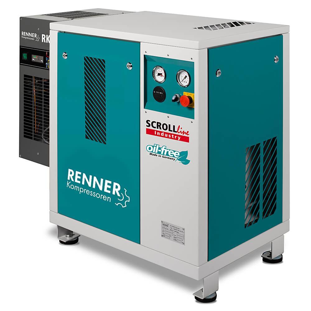 RENNER SCROLL Kompressoren - 2,2 bis 7,5 kW - SL-I ohne Kältetrockner und SLK-I mit Kältetrockner- 10 bar - verschiedene Ausführungen