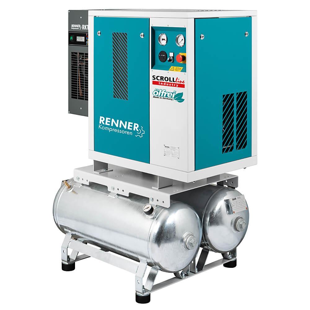 RENNER SCROLL-Kompressoren SLD-I ohne Kältetrockner und SLDK-I mit Kältetrockner 1,5 bis 7,5 KW - verzinkter Druckluftbehälter - 8 bar - verschiedene Ausführungen