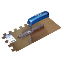 Toothed smoothing trowel - 15 x 15 mm - width 130 mm - length 280 mm - stainless steel