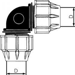 Vinklad koppling 90° - för PEX-rör - PN 16