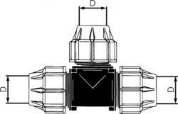 T-stycke PE för PEX-rör - 90° - PN 16
