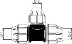 T-stycke PE för PEX-rör - 90° - reducerande - PN 10