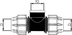 T-stycke PE för PEX-rör - 90° - invändig gänga - PN 16