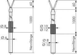 Einsteck-Widerstandsthermometer mit festem Kabel