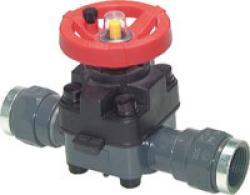 Membranventil - PVC - Anschluss 20 bis 75mm - mit Klebestutzen - handbetätigt -