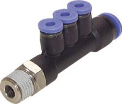 Multiple Tee Connector - With Male Thread And 3 Reducing Outlets