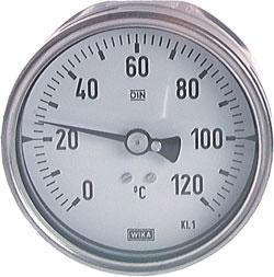 Bimetallthermometer - waagerecht - Edelstahlgehäuse - ohne Schutzrohr - Chemieau