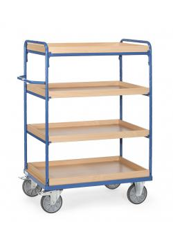 Shelved trolley - up to 600 kg - with 4 boxes of wood