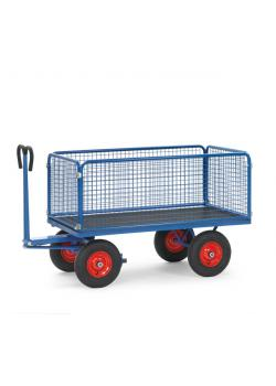 Hand truck - up to 1250 kg - with wire mesh walls - 600 mm high