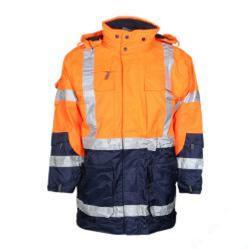 Säkerhetsparkas 4 i 1 - 100% polyester - XL - fluorescerande orange