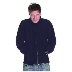 Restposten - Premium Fleece Jacke - Gr. XXL - marineblau - 100% PES Micro Fleece mit Anti-Pill - Reißverschluss - Kadett-Style Kragen - für Beruf und Freizeit