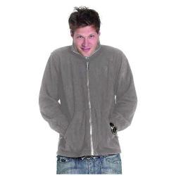 Restposten - Premium Fleece Jacke - Gr. XXXL - grau - 100% PES Micro Fleece mit Anti-Pill - Reißverschluss - Kadett-Style Kragen - für Beruf und Freizeit