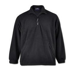 Restposten - Premium Fleece Jacke - Gr. XS - schwarz - 100% PES Micro Fleece mit Anti-Pill - 1/4 Reißverschluss - Kadett-Style Kragen - für Beruf und Freizeit