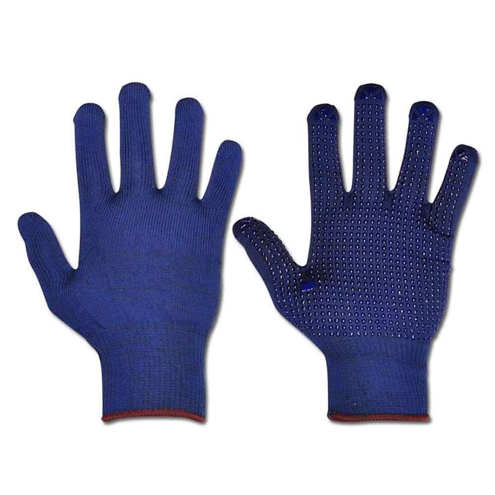Handskar - 100% PES - blå - EN 388 - med vinylnoppor