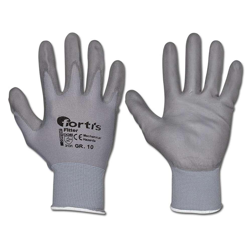 """Stickad handske """"MONTÖR"""" - Cat 2 -. Grå - storlek 7-10 - FORTIS"""