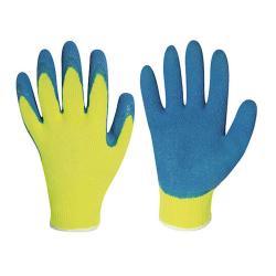 """Arbeitshandschuh """"Harrer"""" - Strick-Handschuh, Latex- beschichtung und Acryl - Farbe gelb/blau - Norm EN 388"""